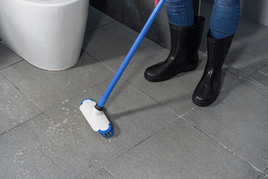 bathroom floor scrubbing