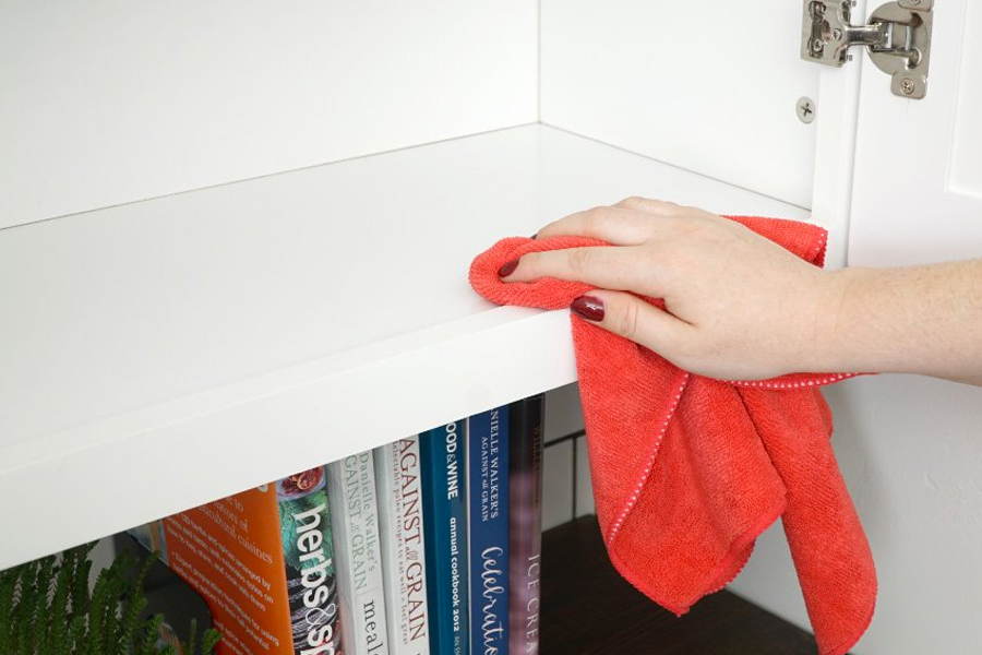 cabinet interior wiping